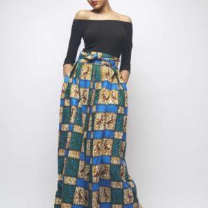 Jupe longue en wax africain