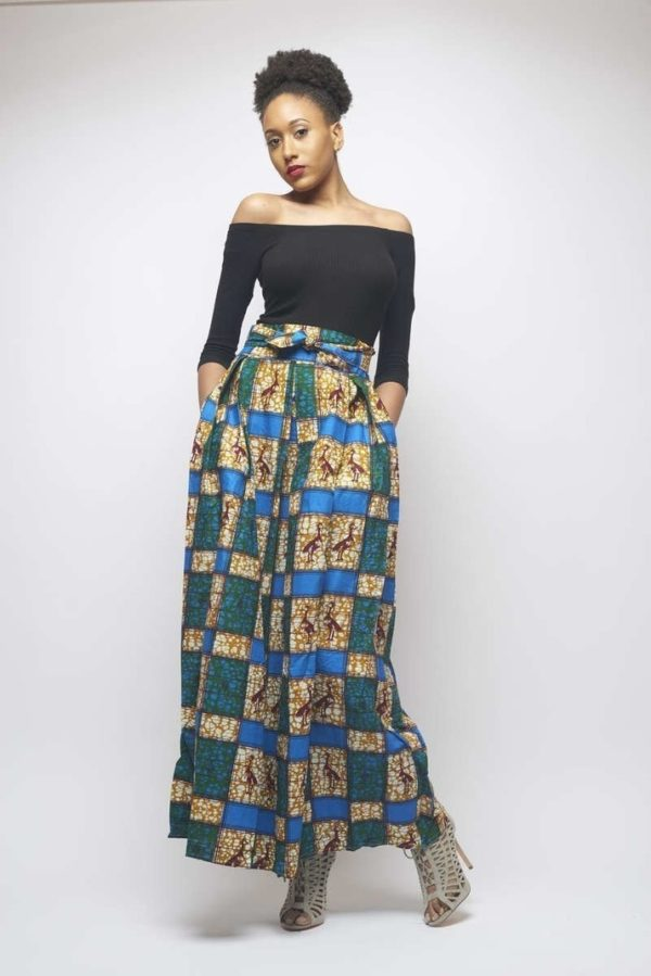 new arrival many fashionable order online Longue jupe évasée et imprimée tissu wax