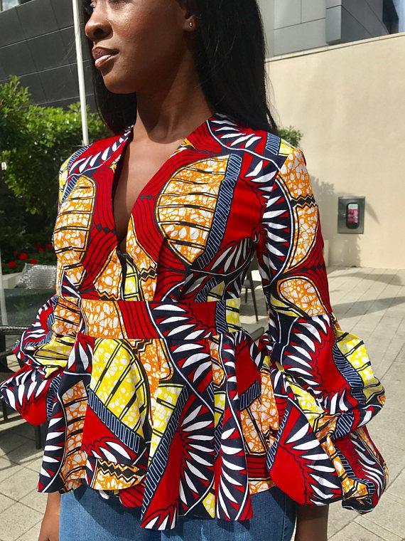 Asymmetrical african print ankara top with puffed hands