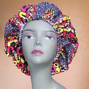 Bonnet doublé satin/tissu wax
