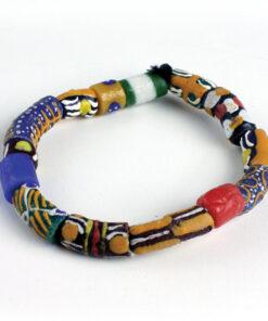 Bracelet perles Krobo, bracelet fait en cuir, bijoux homme en cuir, bracelet femme avec du cuir véritable, acheter des bijoux en cuir, bracelet en bronze