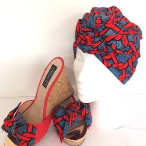 Ankara headwrap and wedge shoes