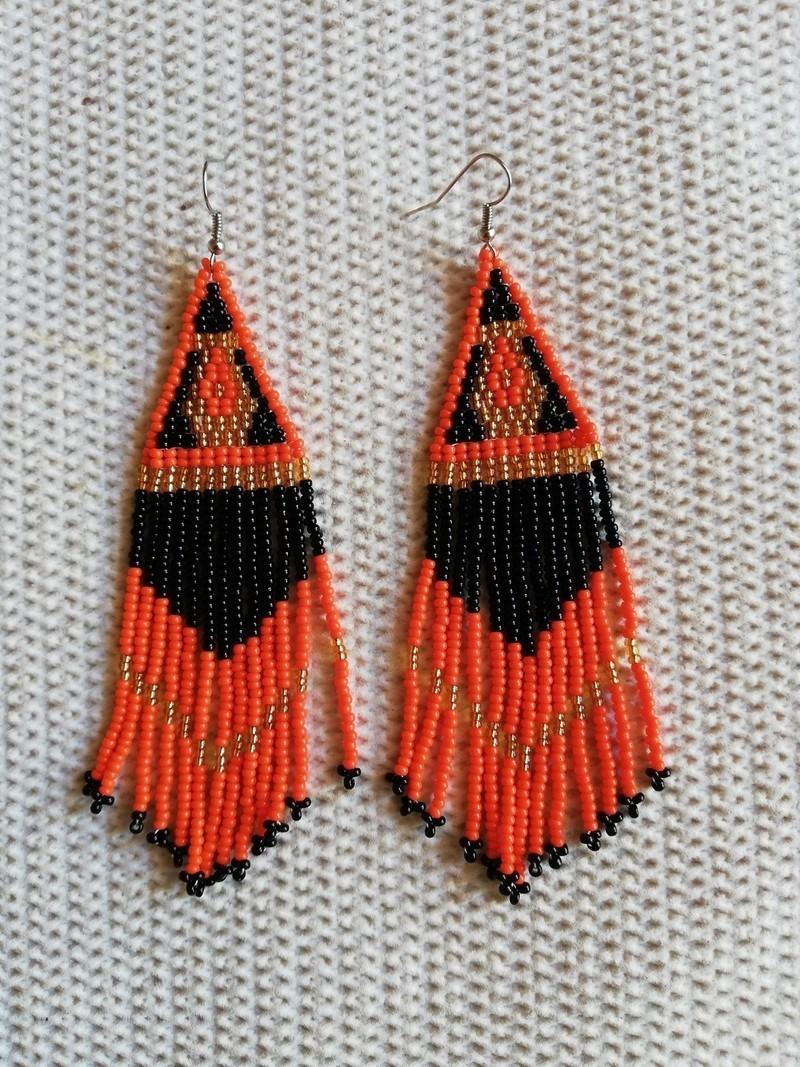 fringe earrings handmade beaded earrings Face earrings
