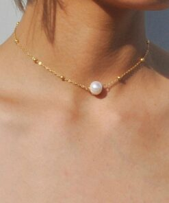Collier De Chaîne Or Avec Perles Dorées et Nacrée