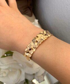 Bracelet Manchette Ondulé Or Pour Femmes