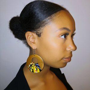 UNIQUE-Boucle d'oreilles en pagne wax africain