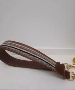 Anse de sac à main-Cuir marron avec du tissu africain