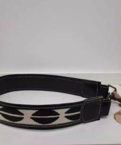 Anse de sac à main-Cuir noir en tissu africain