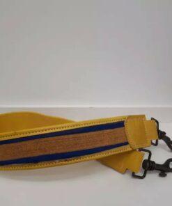 Anse de sac à main- Cuir jaune en tissu africain