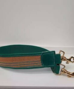 Anse de sac à main-Cuir vert en pagne africain