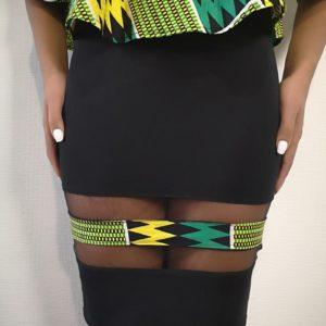 Jupe moulante AMAA composée de tissu pagne africain