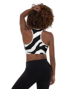 Zebra Akachi- Soutien-gorge de sport rembourré imprimé zébré à rayures africaines noir et blanc
