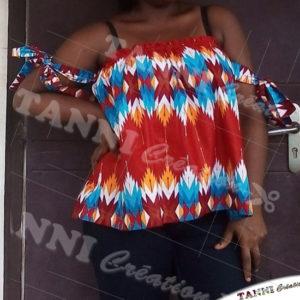 Haut réalisé avec du tissu africain