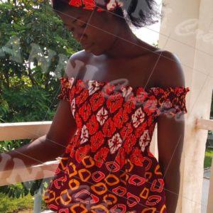 Top à élastique et turban fait en tissu africain