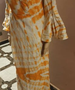 Robe orangée en coton façon indigo 100% coton