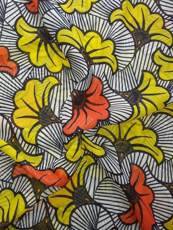 Tissu Wax Africain Fluide Silk Fabric Motif Fleur De Mariage Africabaie Com