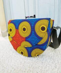 Sac wax africain, sac rond, sac femme bleu