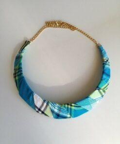 Collier tissu madras africain, collier en tissu, collier madras bleu