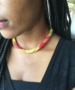 Collier tissu madras africain, collier en madras, collier traditionnel femme