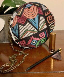 sac rond motif ethnique