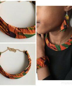 Collier tissu wax africain, collier multicolore, collier tissu Ghana