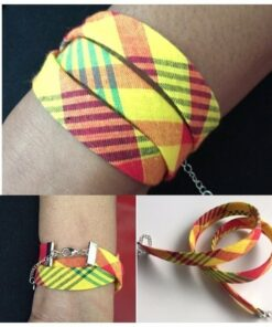 Bracelet tissus madras, bracelet tissu africain, bracelet orange