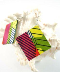 Bijoux tissu africain, boucles en tissu wax, boucles d'oreille ethnique