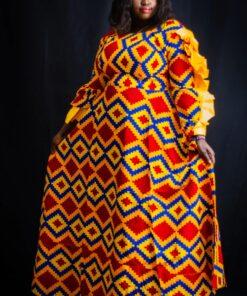 Robe maxi évasée à manches longues Ankara, robe évasée, robe manches longues