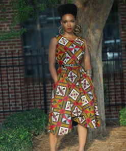Robe irrégulière avec poches en wax ; Asantewa, robe irrégulière, robe avec poches