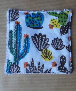 lingette démaquillante réutilisable à motif cactus 10x10cm