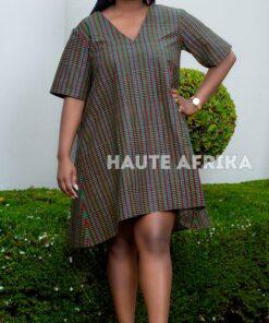Robe courte et ample en wax ; Cotonou, robe courte, robe ample