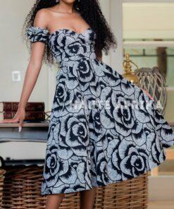 Robe mi-longue à épaules dénudées ; Kumasi, robe mi-longue, robe épaules dénudées