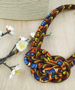 Colliers en wax, collier africain fait main, bijoux en tissu