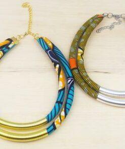 Bijoux tissu africain, collier africain femme, colliers africains