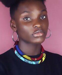 Collier tissu africain, Collier africain femme, collier fait en tissu