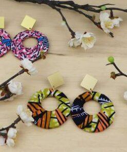 Boucles d'oreille wax africain, boucles d'oreilles tissu, bijoux tribal