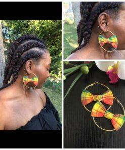 Boucles oreilles wax africain, créoles en tissu wax, boucles en tissu