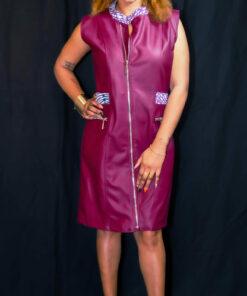Robe rouge bordeaux customisée wax, robe bordeaux, robe customisée wax