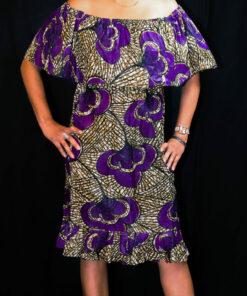 Robe mi-longue tissu africain, robe mi-longue, robe tissu africain