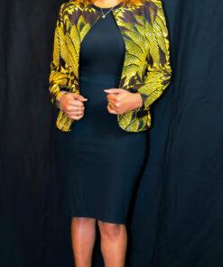 Veste cintrée courte col rond en wax, veste courte, veste wax