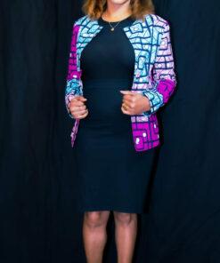 Veste courte cintrée col rond en wax, veste courte, veste cintrée