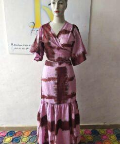 Robe longue avec pagne ; Batik, robe longue, robe avec pagne