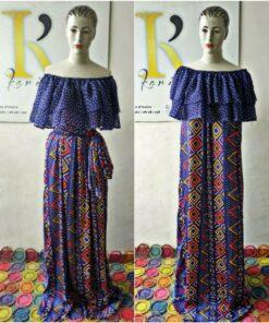 Robe épaules dénudées longue Bogolan, robe longue, robe épaules dénudées