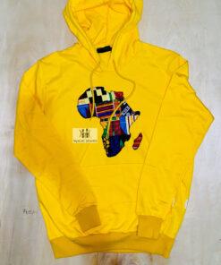 Sweat jaune motif Africa en wax unisexe, sweat jaune, sweat motif africa
