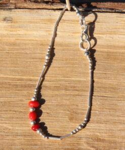 Bracelet en corail, bracelet en bambou teinté, bracelet ethnique