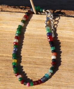 Bracelet argent en perles, bracelet avec perles d'agate, bracelet fin argent