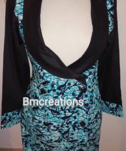 Robe blazer évasée en wax ; Bleu, robe blazer, robe évasée