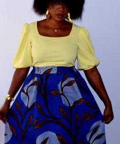 Jupe bleu à motifs en Wax, jupe à motifs, jupe bleu