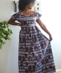 Robe longue asymétrique en tissu Wax, robe longue, robe asymétrique