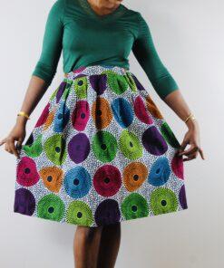 Jupe à motifs circulaire en Wax, jupe circulaire, jupe à motifs